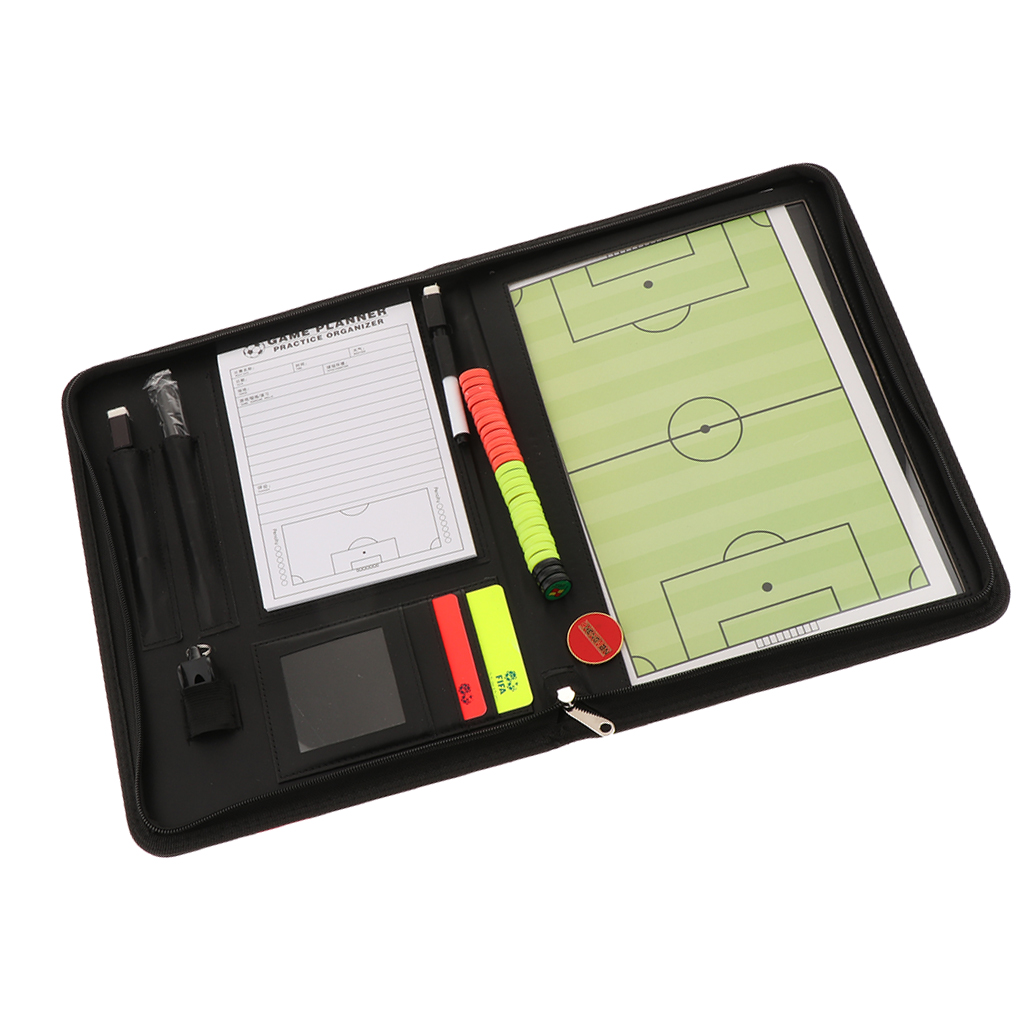 Soccer Coaches Organizer Zipper Case Football Coaching Board Warning Cards Wallet Magnets