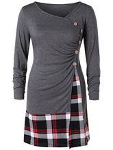 4bb7700a439 Wipalo Women Plus Size 5XL Plaid Draped Tunic T-Shirt Casual Autumn O Neck  Long Sleeve Buttons Embellished Tee Top Ladies Top