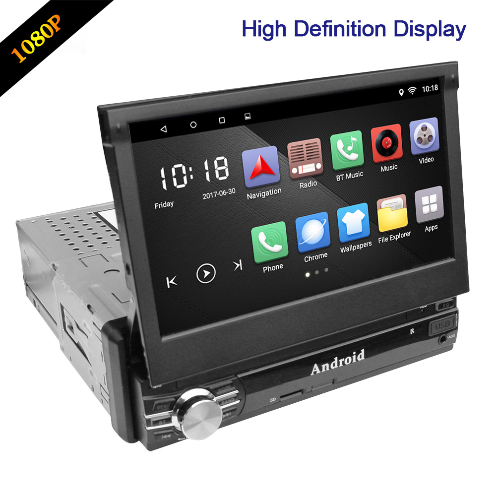 RM - CT0013R 7 inch 1080P DVD Player Android 8.0 Bluetooth FM Radio 1 Din Car Multimedia Player Mirror Link GPS Navigation image