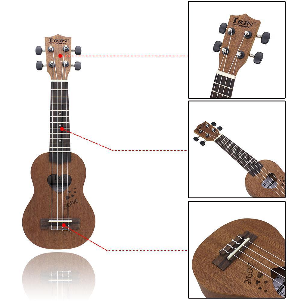 IRIN 17 pouces 12 frettes Sapele épicéa ukulélé guitare 4 cordes hawaïenne guitare Instruments de musique avec sac pour débutants cadeau - 5