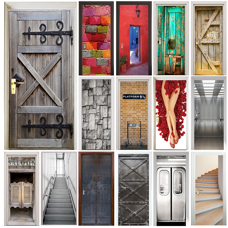 Door Sticker Retro Old Wooden Door Police Hall Subway Station Bar Elevator Stairs Color Bricks Pulling Door Home Decor Paste