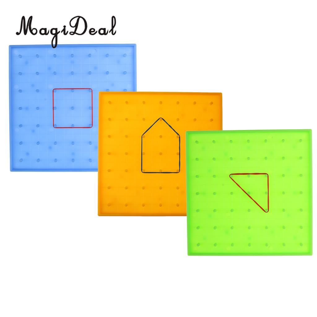MagiDeal Plastic Nail Board Plate Primary Mathematics Home School Classroom Teaching Tool Kids Children Math Toy 3Colors