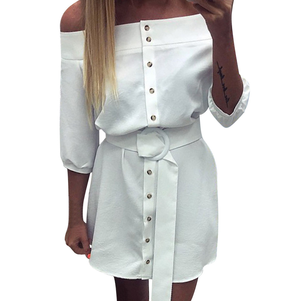 Sexy woman dress Ladies Off Shoulder Button bandage Belt Solid party dress Ladies 3 4 Sleeve robe Korean woman clothing 2019 in Dresses from Women 39 s Clothing