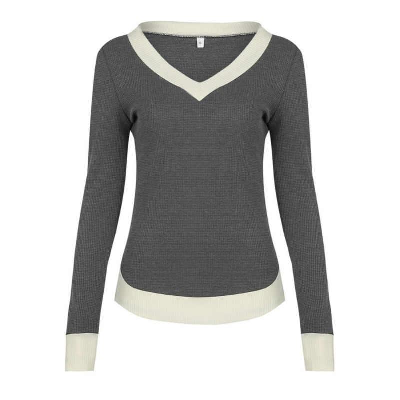 Осенняя футболка Femme Футболка Для женщин с v-образным вырезом Топ в стиле пэчворк женские футболки футболка с длинными рукавами черного и серого цвета женская футболка, Топ