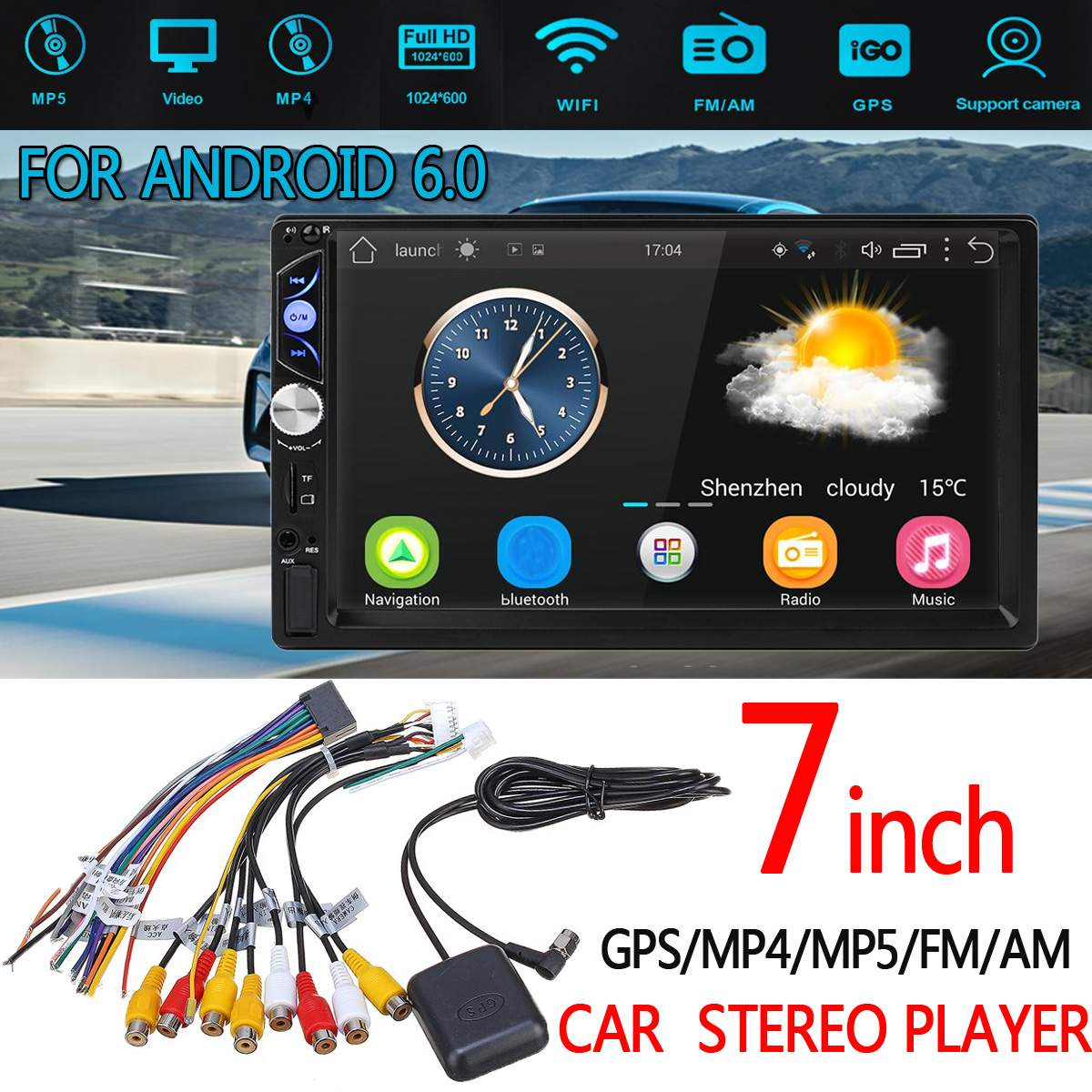 For Android 6.0 7in 2 DIN bluetooth Player 1024*600 Car Stereo GPS/MP4/MP5/FM/AM 3G WIFI Support GPS Navigation Touchable ScreenFor Android 6.0 7in 2 DIN bluetooth Player 1024*600 Car Stereo GPS/MP4/MP5/FM/AM 3G WIFI Support GPS Navigation Touchable Screen