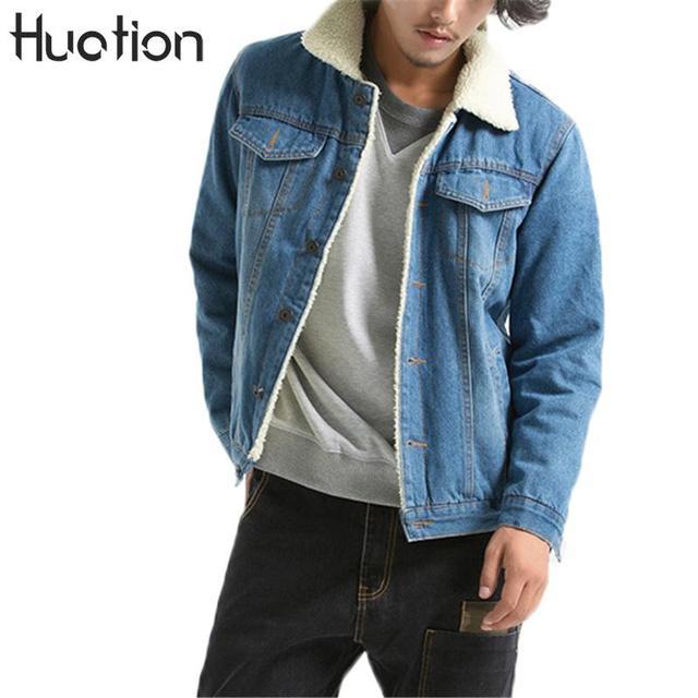 the best attitude 8b3d1 f8723 US $37.44 20% di SCONTO|Huation Giacca di Jeans Jeans Degli Uomini 2108  Inverno Addensare Caldo di Lana di Agnello Fodera In Pile Giacca di Jeans  Da ...