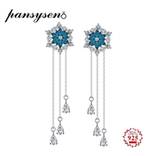 PANSYSEN Sapphire Drop Jewelry Earrings For Women 1 Pair Real Pure 925 Sterling Silver Long Dangle Luxury Fine