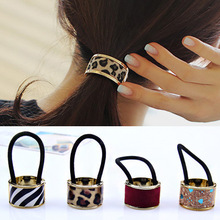 цена на Fashion Ponytail Hair Band For Women Sexy Leopart Opening Hair Ring Gold Hair Jewelry Accessories High Elastic Hair Band