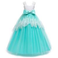 2018 Summer New 3 8 Years Old Wear Children's Sweet Gauze Flower Sleeveless Bow Princess Long Wedding Dress
