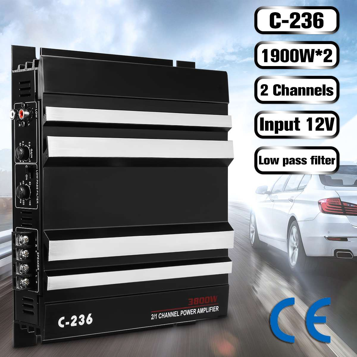 C 236 3800 Watt 2 Channel Powerful Car Audio Amplifier Bass AMP Aluminum 12V DC