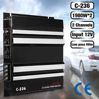 C 236 3800 Watt 2 Channel Powerful Car Audio Amplifier Bass AMP Aluminum 12V DC