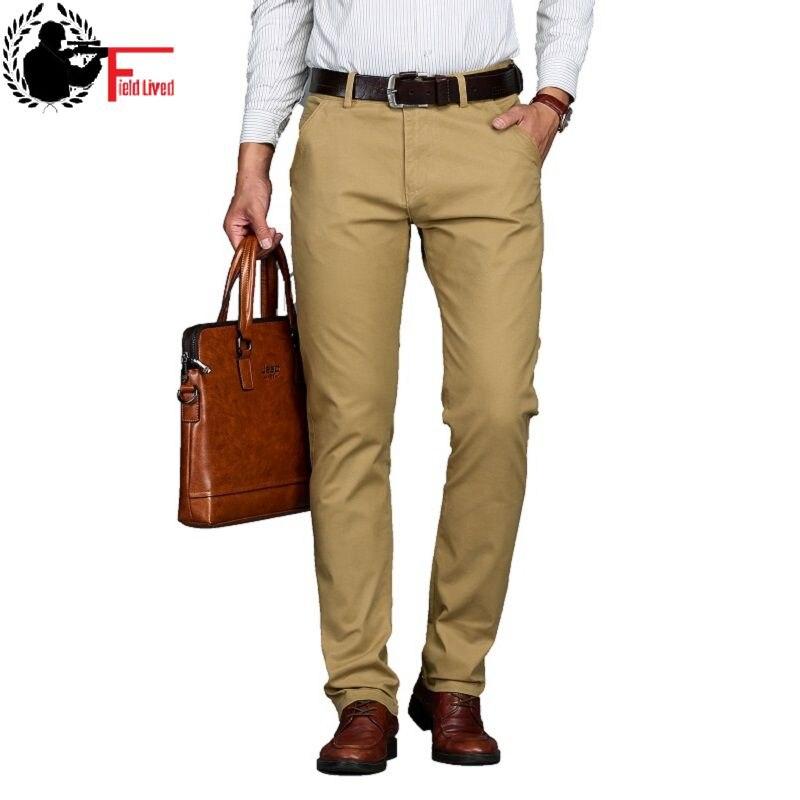 Mens Casual Business Dress Formal Pant Cotton Stretch Trousers Long Straight Jogger Male Black Blue Khaki Plus Big Size 42 44 46