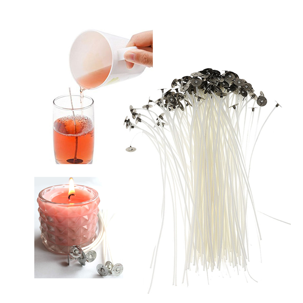 50//100Pcs Low Smoke Natural Cotton Candle Wicks Pre Waxed with Tabs 8//10//12//14cm