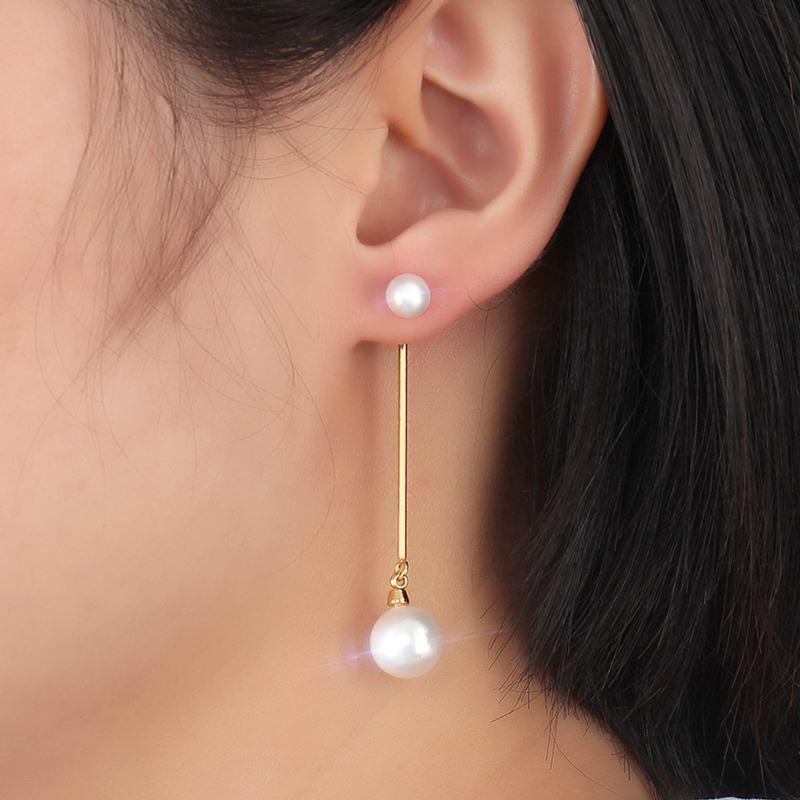 Сережки Vnox Long Drop для жіночих перлів з імітацією з нержавіючої сталі не алергічної марки ювелірних виробів золота Колір повісити