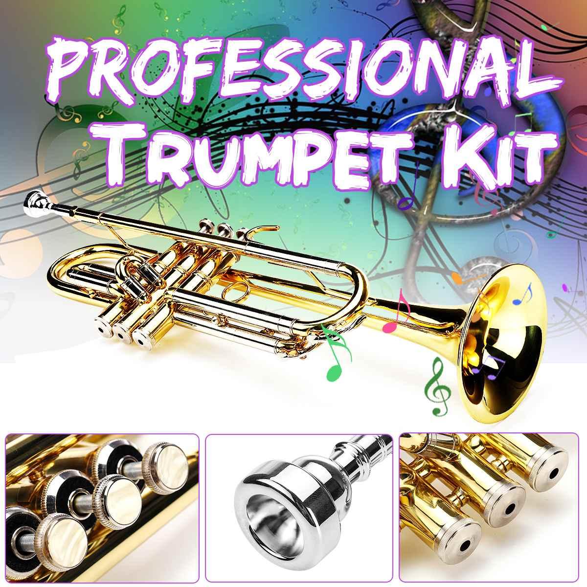 Bb professionnel trompette Kit laiton bande Instrument avec sac étudiant musique outil B plat jouets cadeau Instrument de musique trompette accès