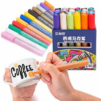 STA 12/24 Colors Acrylic Paint Marker Sketch Stationery Set For DIY Manga Drawing Marker Pen School Student Painter Supplies - Category 🛒 Office & School Supplies