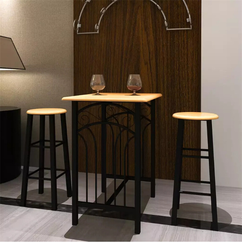 VidaXL Breakfast Dinner Table Dining Set MDF With Black Home Furniture 1 table and 2 stools Dining Set Living room Furniture