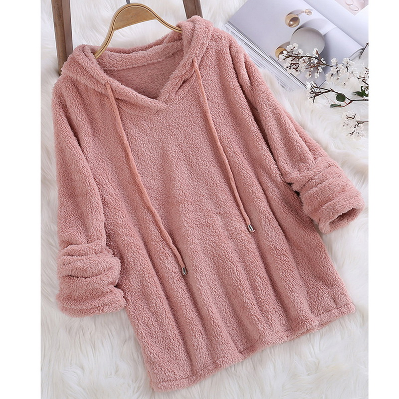 2018 New Autumn Fashion Women Hoodie Long sleeve Solid Fluffy Fleece Fur Outerwear Winter Warm Sweatshirt Coat Harajuku in Hoodies amp Sweatshirts from Women 39 s Clothing