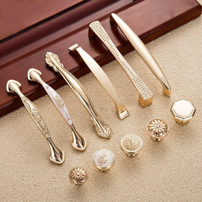 Brass Furniture Door Knob Cabinet Knobs Handles Wardrobe Drawer Pull Decor Tool