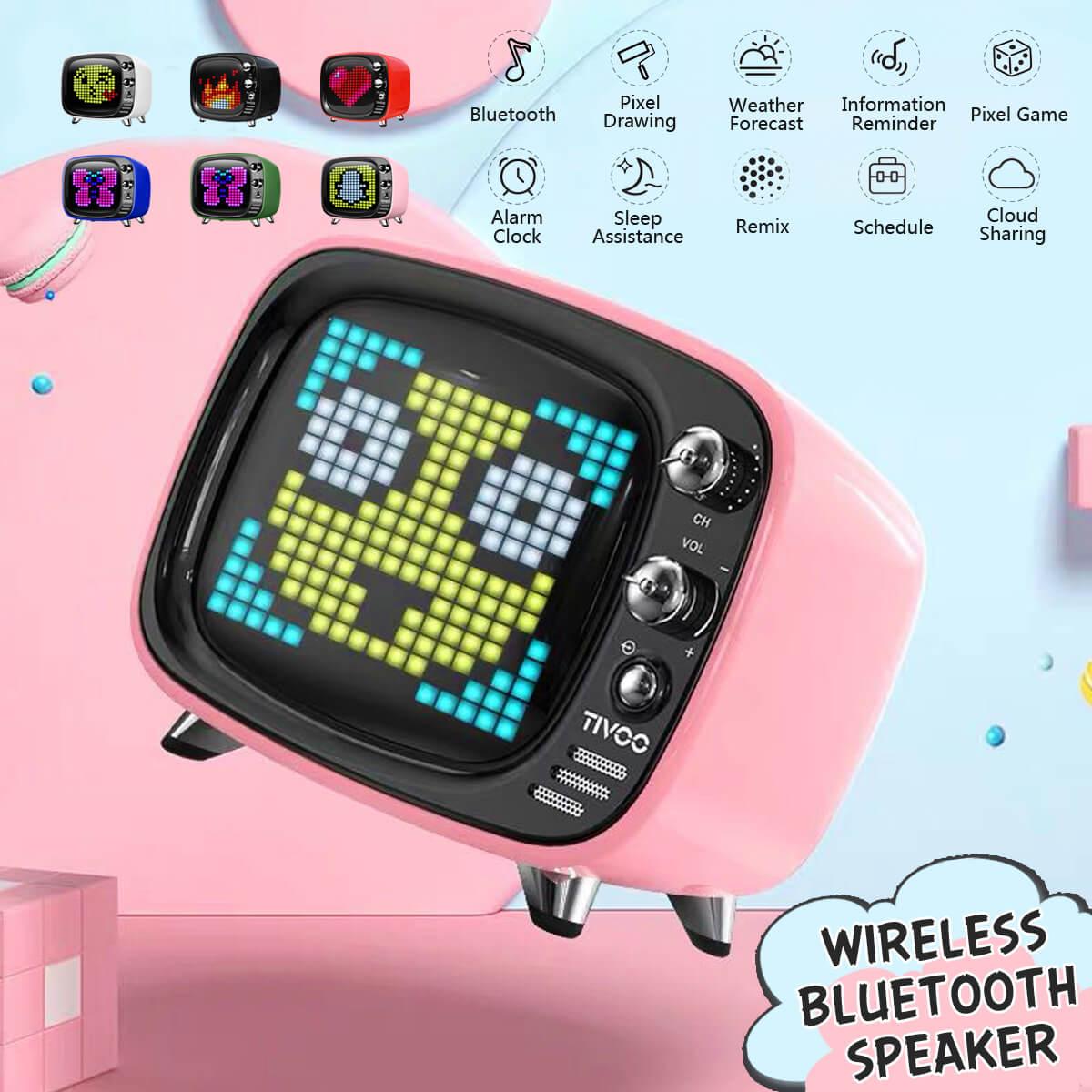 Sans fil bluetooth rétro TV haut-parleur prise Portable carte TF petit réveil Mini APP petite stéréo