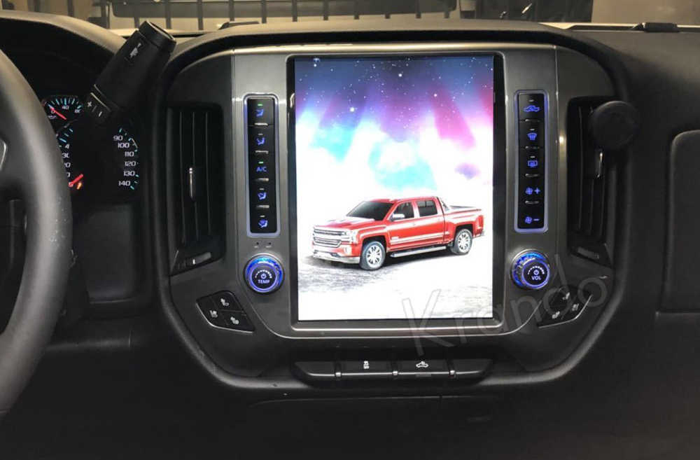 "Krando Android 9.0 12.1 ""Tesla tarzı dikey araba radyo navigasyon oynatıcı için Chevrolet Silverado ve GMC Sierra 2014-2018"