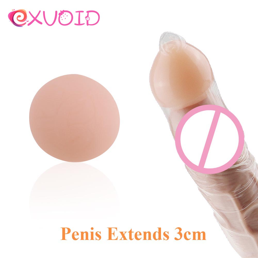 EXVOID Penis Extender Beads Condom Attachment Ball For Penis Enlargement Penis Sleeve Extender Reusable Soft Head Intimate Goods
