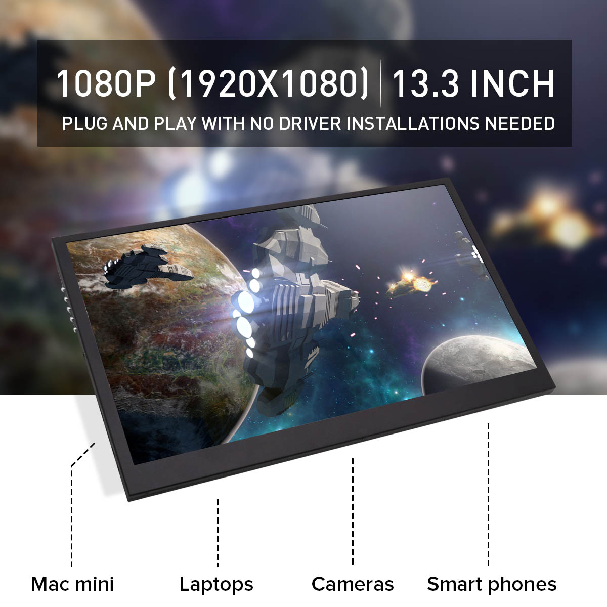 13.3 Inch Portable Monitor 1920*1080P IPS LCD Screen Display for PS3/PS4 for HDMI for XBOX One game Gifts13.3 Inch Portable Monitor 1920*1080P IPS LCD Screen Display for PS3/PS4 for HDMI for XBOX One game Gifts