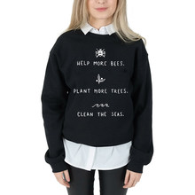 Help More Bees Women Long Sleeve Tops Harajuku Graphic Sweatshirt 90s Grunge Plus Size Hoodie Plant More Trees Drop Shipping(China)