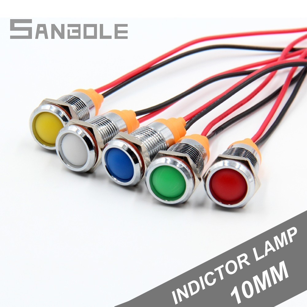 Led Metal Indicator Light 10mm Waterproof Signal Lamp Power Supply Work Lamp 12v24v220v With 150mm Wire