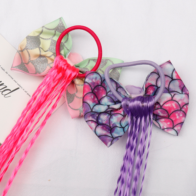 Xugar Hair Accessories Hair Bows Hair Bands for Girls Mermaid Bowknot Scrunchie for Hair Tie Kids Colorful Long Braids Headband