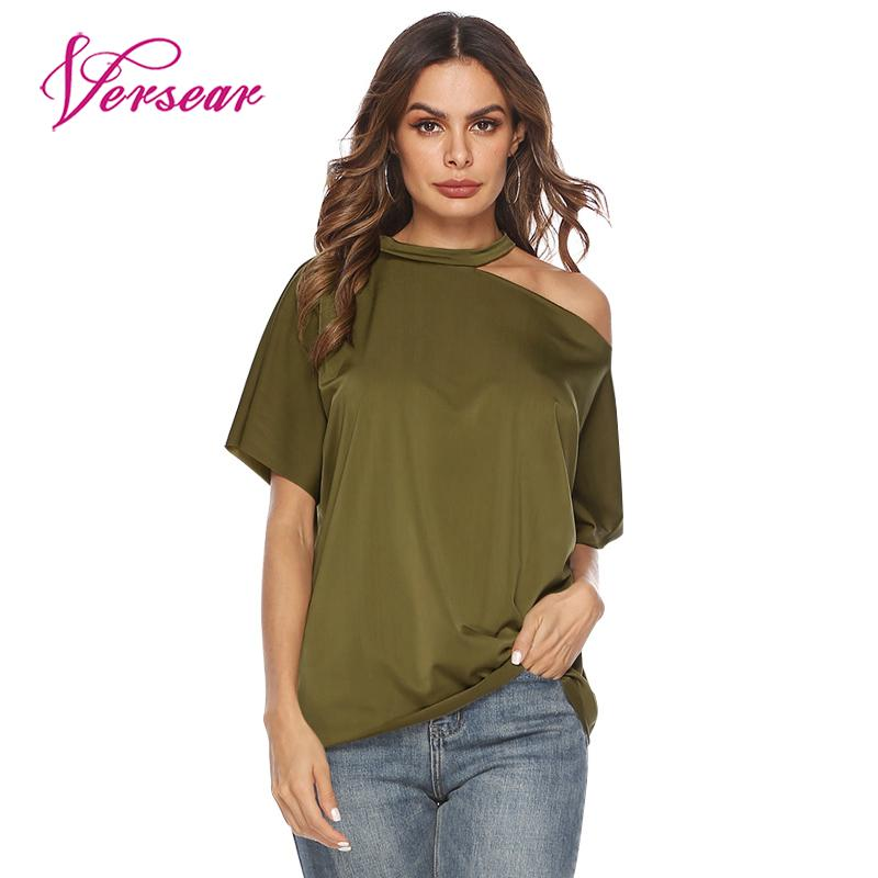 Versear Women Summer Casual T-Shirt Cold Shoulder O Neck Short Sleeves Solid Loose Tee Tops Pullover Female 2019 Fashion Shirts