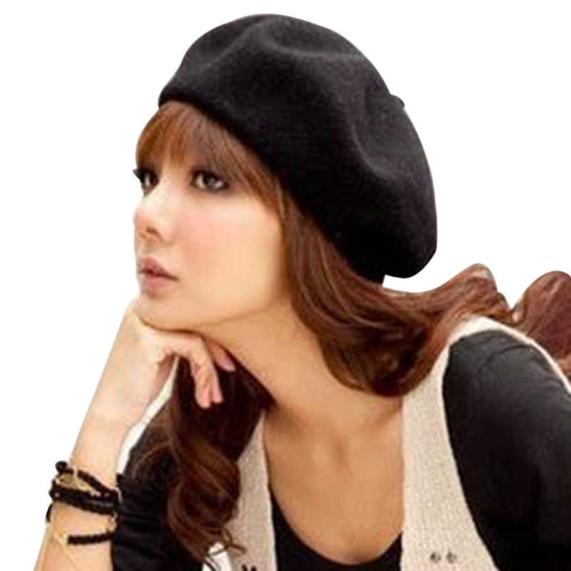 60d5c3914db03 Laamei Solid Color Women s Girl s Beret Black White Gray Pink Boinas De  Mujer Female French Artist