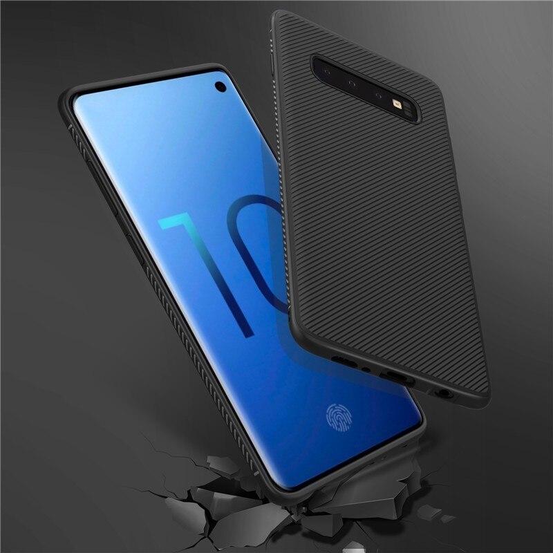 Case For Samsung Galaxy S10 Plus S10+ Shockproof Carbon Fiber Soft Back Cover Sfor Samsung S10 Plus Case