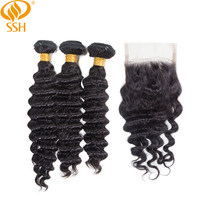 SSH Brazilian Deep Wave Non Remy 3 and 4 Bundles With Lace Closure Human Hair Natural Color