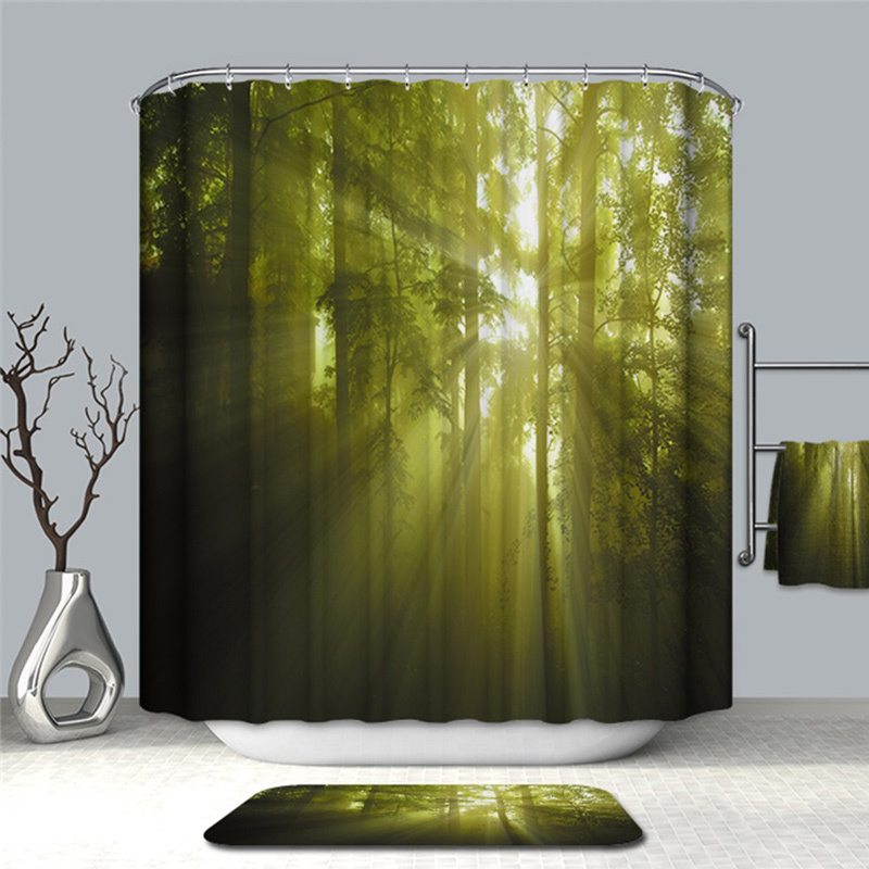 Image 4 - VOZRO Shower Curtain Of Natural Quality Of Waterproof Polyester 2 M 3d Decoration Simple Shower Douchegordijn Youtube Bape Groot-in Shower Curtains from Home & Garden