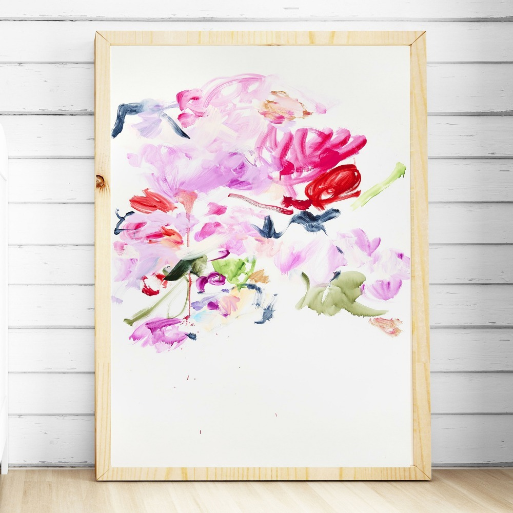 Colorful Flowers Abstract Hand Painted Canvas Painting Posters And Prints For Living Room No Framed Wall Art Picture Home Decor in Painting Calligraphy from Home Garden