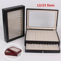 12/30 Pen Holder 2 Layer Fountain Wood Display Case Holder Wooden Pen Stationary box Storage Collector Organizer Box Black