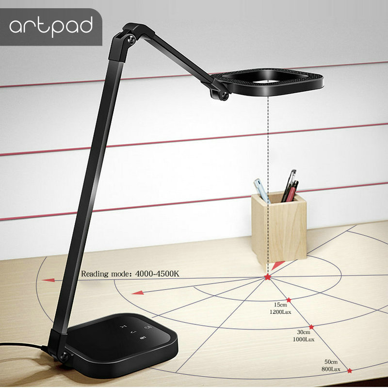 ArtPad 10W 15 Brightness Touch Dimmer Modern Office LED Table Lamp USB Port Charge Phone Student Reading Study Light Black White-in Desk Lamps from Lights & Lighting