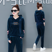 Pleuche han edition sportswear fleece suit the new womens clothing of spring fashion age season two-piece outfit
