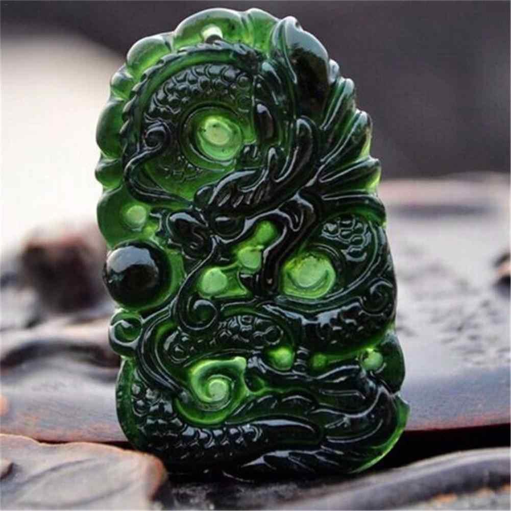 Natural preto verde jade pingente em forma de dragão chinês artesanal jade desktop decoração para escritório estudo artesanato boa sorte amuleto