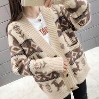 Women's Autumn Sweaters Embroidery Knit Cardigans V neck Single Breasted Casual Loose outerwear Sweater Fashion roupas feminina