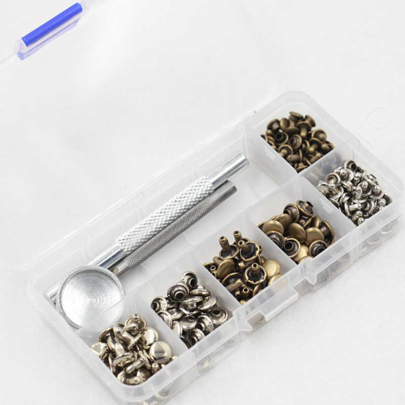 الجلود إصلاح المسامير أنبوبي معدن واحد فضة برونز المسامير مع تحديد أداة كيت ل أحزمة DIY الحرف