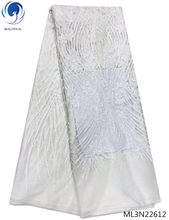 Beautifical white african lace fabric 2019 high quality fabrics with sequins nigerian for women 5yards/lot ML3N226