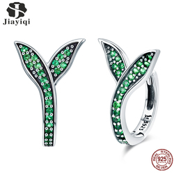 Jiayiqi Hot Sale 925 Sterling Silver Dazzling Small grass green shoots Stud Earrings charms for Women Authentic Silver Jewelry