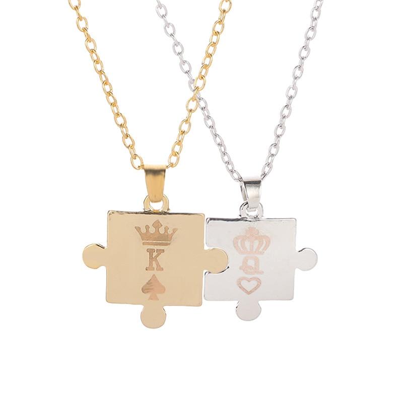 2pcs/set Couple Necklaces Jigsaw Puzzle King Queen Crown Necklaces for Women Men Gold Silver Pendant Statement Choker Jewelry