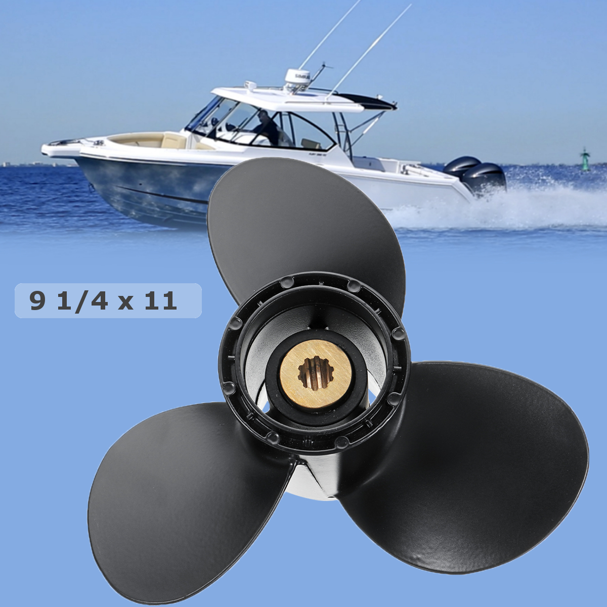 Audew 58100-93743-019 9 1/4 x 11 Boat Outboard Propeller for Suzuki 9.9-15HP Aluminium Alloy 3 Blades 10 Spline Tooths Black new outboard propeller 58100 88l31 019 size 11 5 8 x 12 12p df40a 50a 6 for suzuki marine outboard engine motor