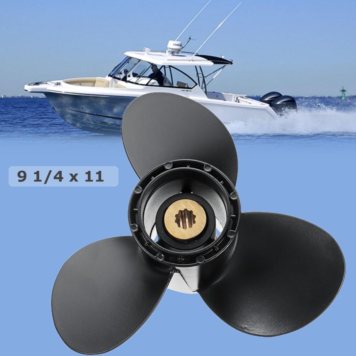 Audew 58100-93743-019 9 1/4x11 Barca Fuoribordo Elica per Suzuki 9.9-15HP In Lega di Alluminio 3 lame 10 Spline Tooths Nero