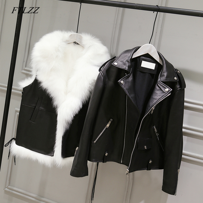 Ftlzz New Pu Leather Jackets Women White Faux Fur Vest+ Black Faux Leather Streetwear Short Coat Winter Female Snow Outerwear