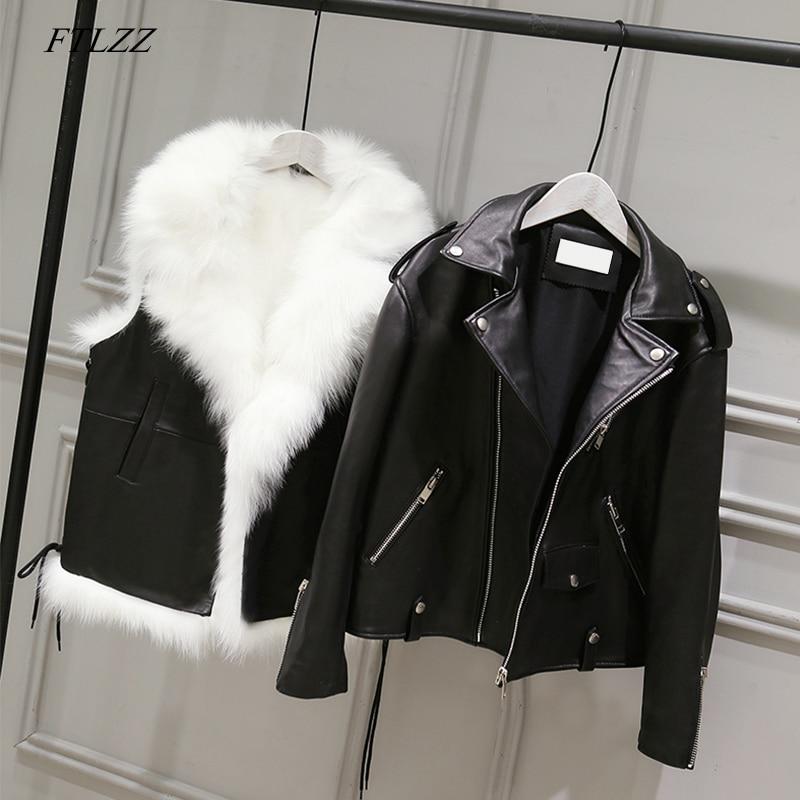 FTLZZ ใหม่ Pu แจ็คเก็ตหนังผู้หญิงสีขาว Faux Fur เสื้อกั๊ก + หนัง Faux สีดำ Streetwear สั้นเสื้อฤดูหนาวผู้หญิงหิมะ outerwear-ใน หนังและหนังกลับชนิดนิ่ม จาก เสื้อผ้าสตรี บน   1