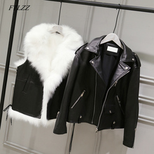 FTLZZ חדש עור מפוצל מעילי נשים לבן פו פרווה אפוד + שחור פו עור Streetwear קצר מעיל חורף נקבה שלג הלבשה עליונה